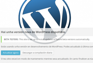Controla as actualizacións de wordpress